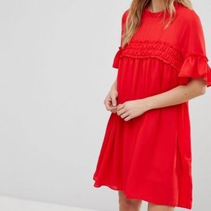 ASOS Red Sheer Babydoll Ruffle Trapeze Shift Dress